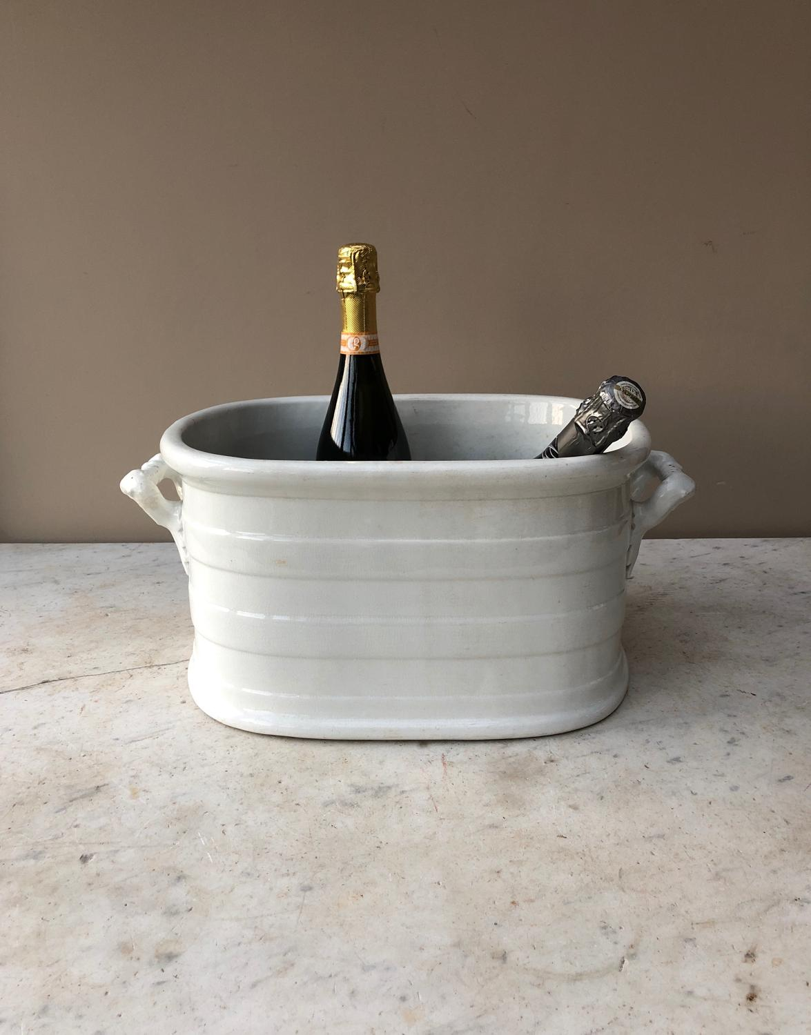 Edwardian White Ironstone Banded Foot Bath - Perfect Drinks Cooler