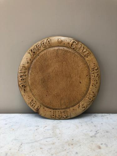 Victorian Carved Treen Bread Board - Give Us This Day Our Daily Bread