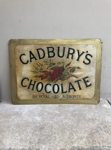 Rare Victorian Tin Advertising Shops Sign - Cadburys Chocolate