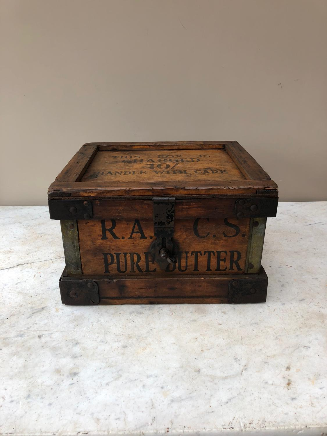1920s Pine CWS Travelling Pure Butter Box