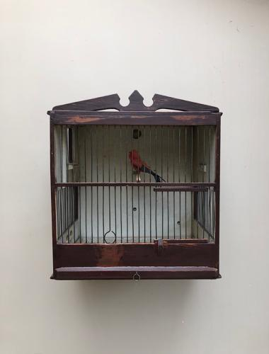 Late Victorian Decorative Pine Bird Cage in Original Paint