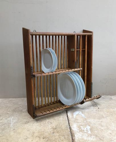 1940s Oak Wall Hung Plate Rack - With Plaque Staines London SW1