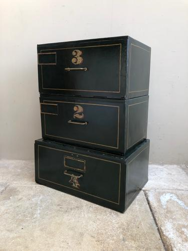 Edwardian Set of Three Toleware Stacking Boxes Filing