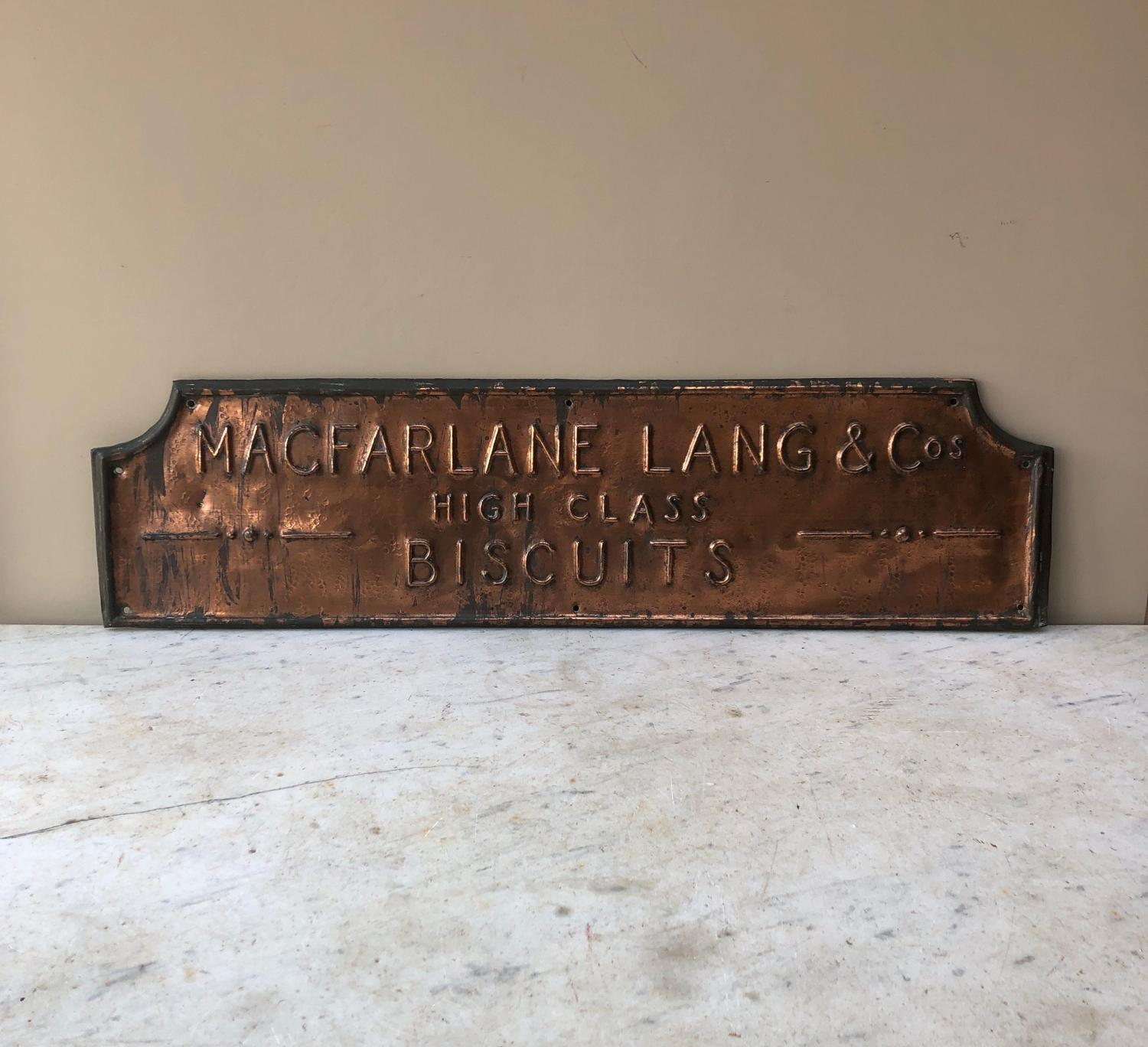 Edwardian Pressed Copper Shops Advertising Sign - Macfarlane Biscuits