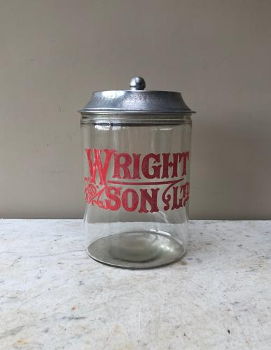 1920s Shops Counter Top Advertising Jar for Wright & Son Ltd (Biscuits