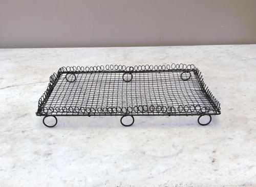 Victorian Wire Work Cake Cooling Rack Tray with Ornate Loop Top