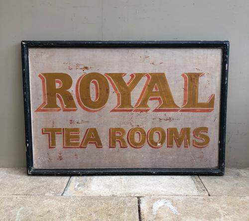 Large Early 20th Century Double Sided Painted Sign - Royal Tea Rooms