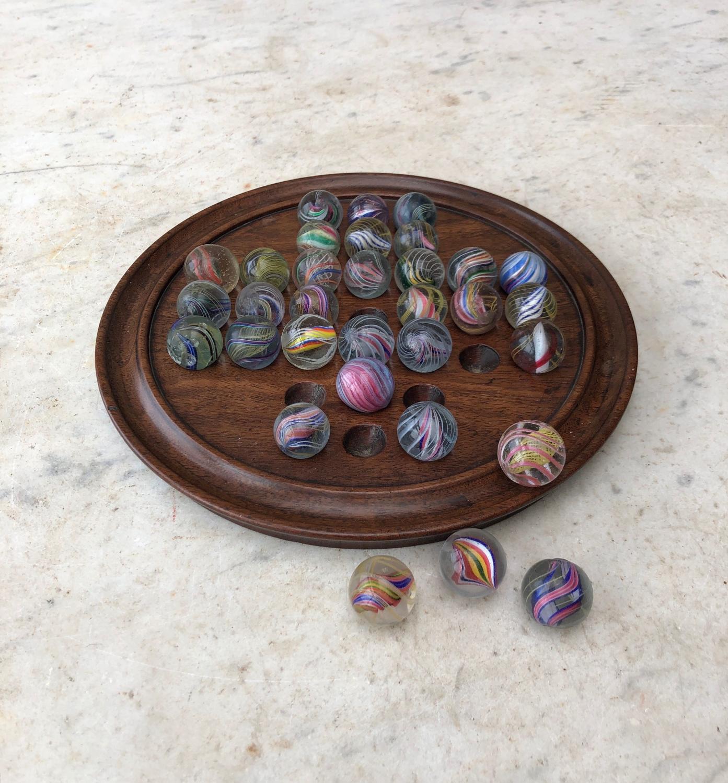Victorian Mahogany Solitaire Board Full Set Rare Swirl Core Marbles