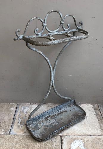 Antique Ornate Iron Umbrella & Stick Stand - Fantastic Original Paint