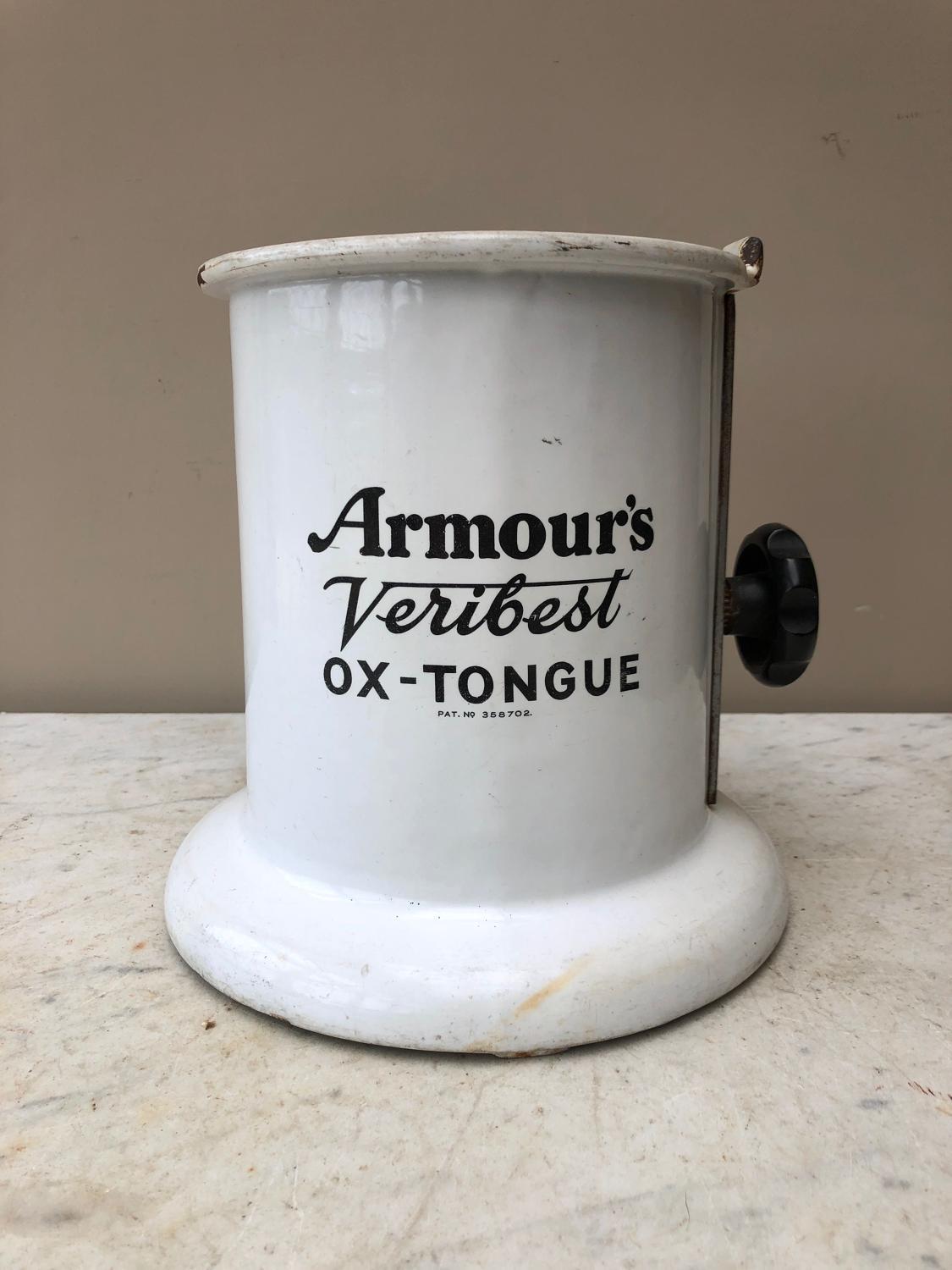 Early 20thC Butchers Enamel Ox Tongue Holder - Armour's Veribest