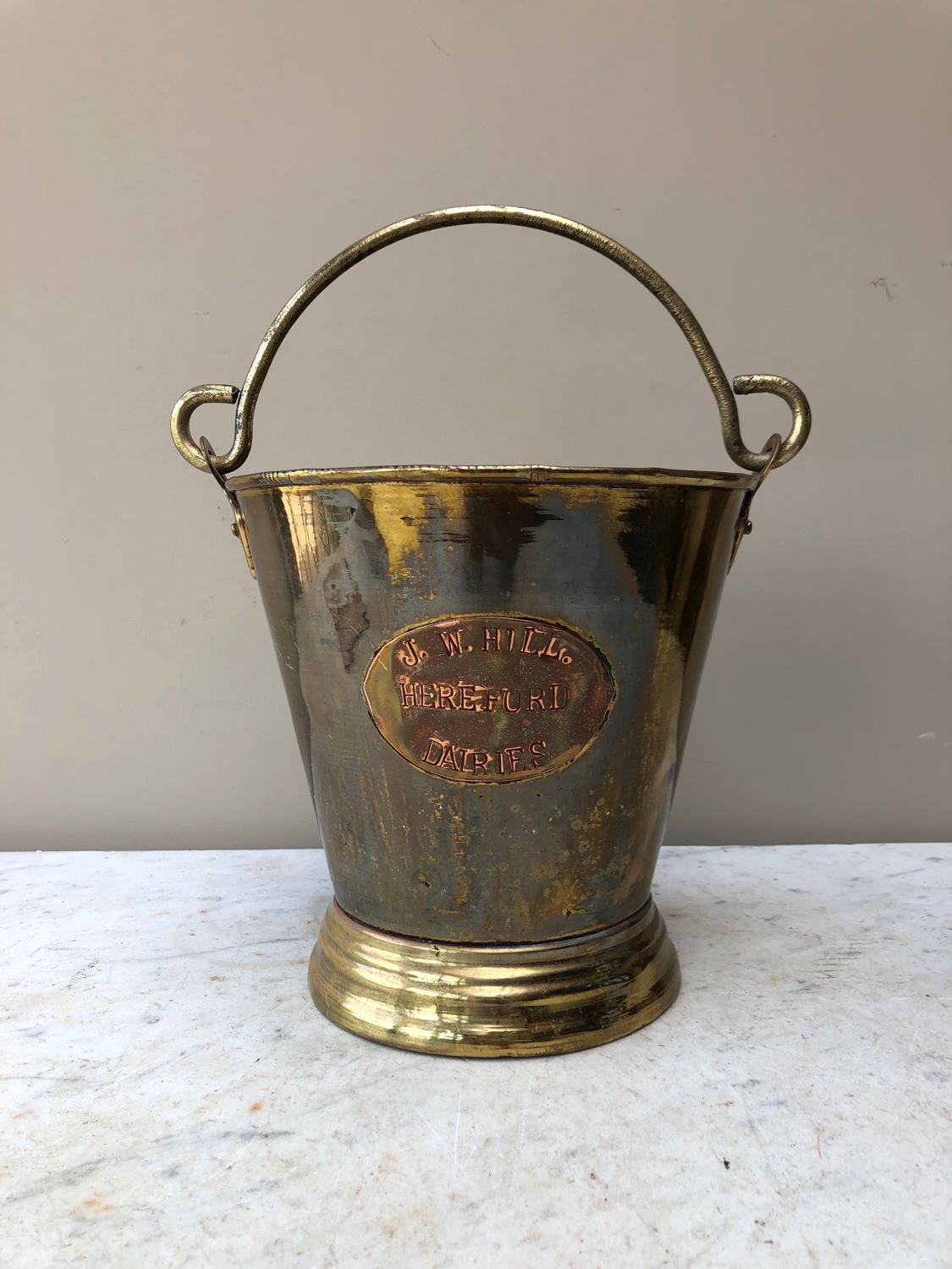 Victorian Brass Dairy Milk Pail - JW Hill Hereford Dairies