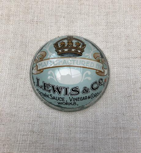 Rare Edwardian Glass Advertising Paperweight