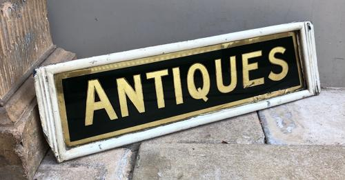 Rare Late Victorian Glass Reverse Painted Shop Sign - Antiques