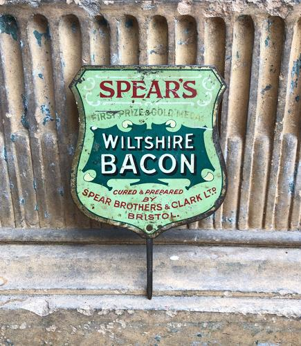 Early 20thC Butchers Tin Advertising Sign - Spears Wiltshire Bacon