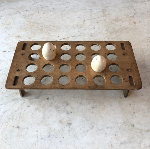 Victorian Treen Single Tier Egg Rack for Two Dozen Eggs