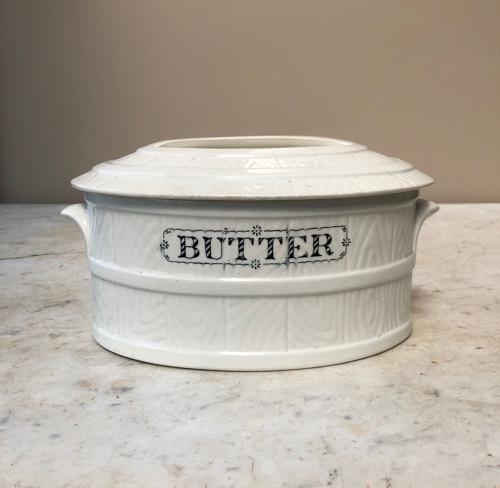Large Edwardian White Ironstone Butter Dish