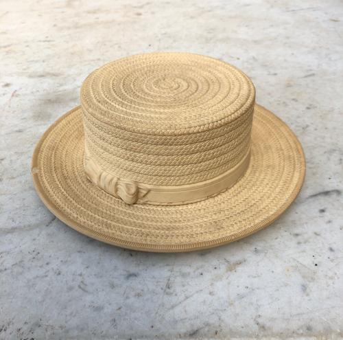 Rare Victorian c1880 Biscuit Ware Butter Dish - Straw Boater