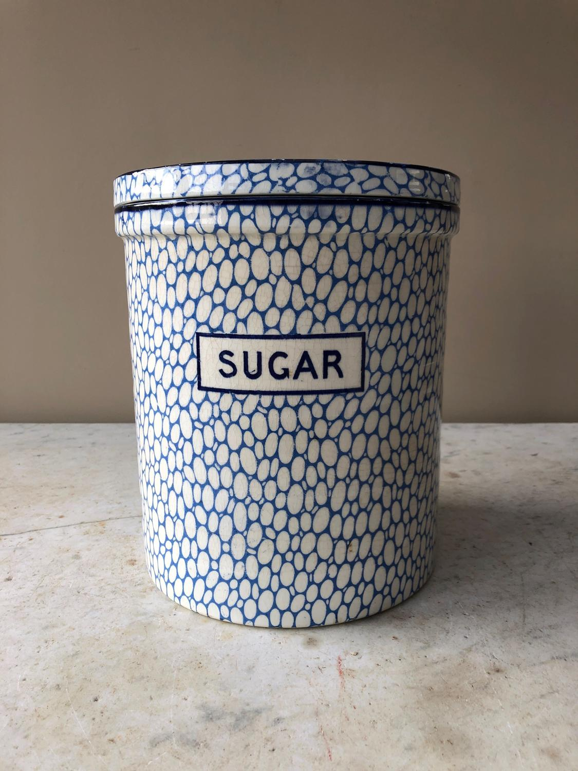 Early 20thC Huge Blue Maling Cobblestone Jar - Sugar