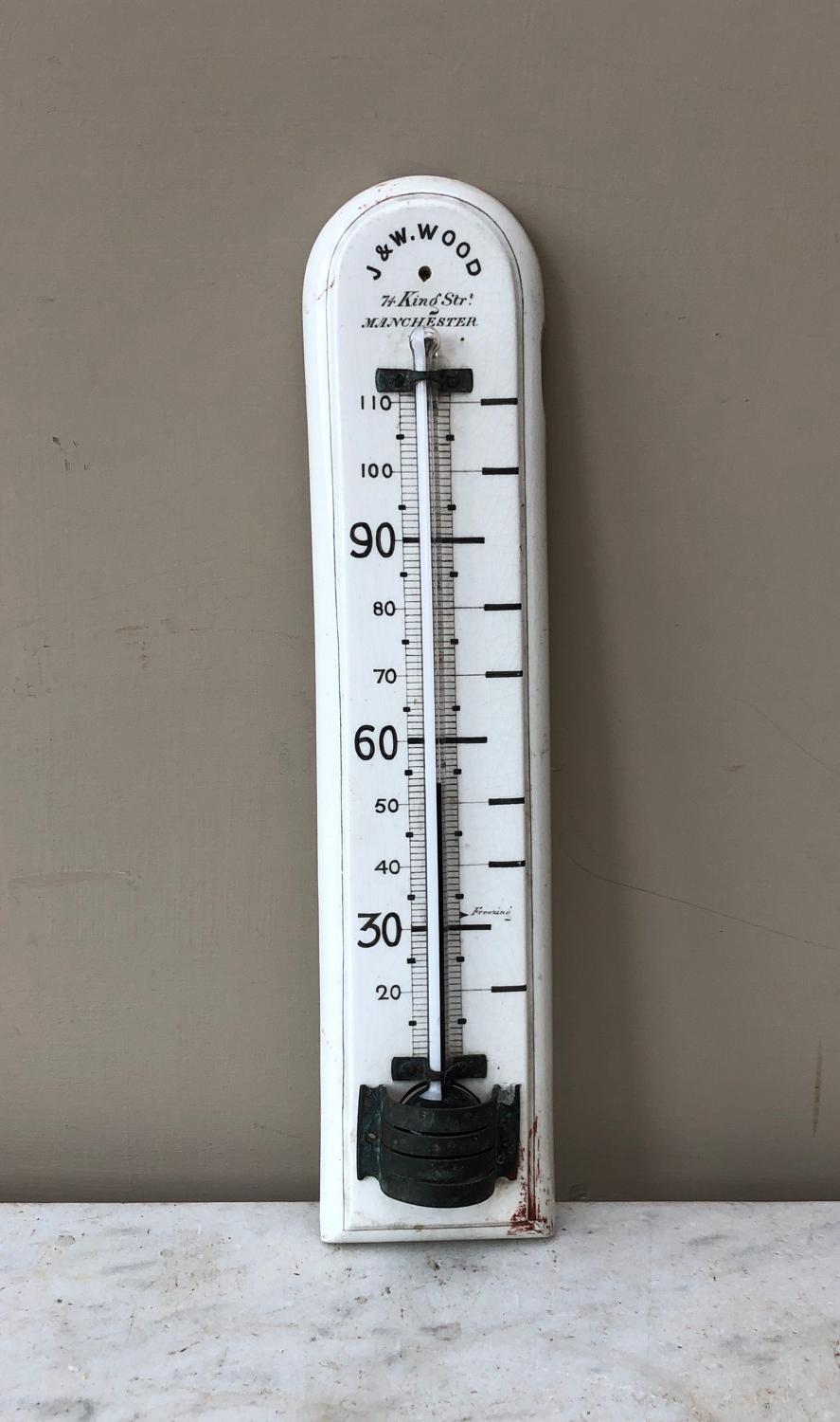 Victorian White Ironstone Household Thermometer