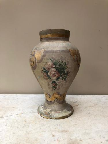 Large Late Victorian Painted Terracotta Urn with Lid