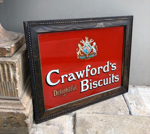 Early 20thC Glass Advertising Sign - Crawfords Biscuits