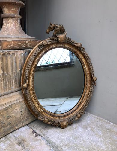 Victorian Gilt Gesso Mirror with Horses & Horse Related Edging