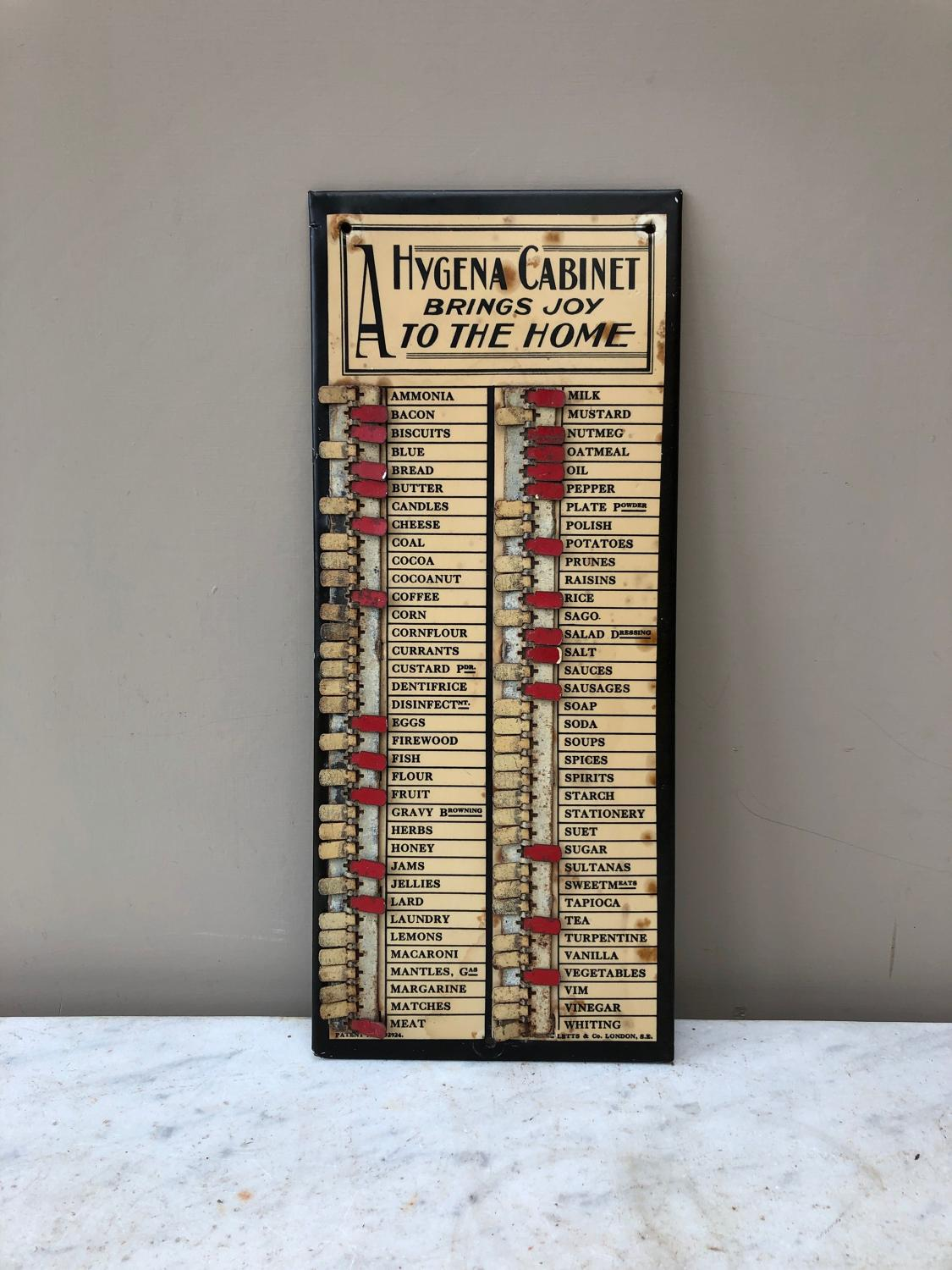 1930s Household Wants Indicator for Hygena Cabinet
