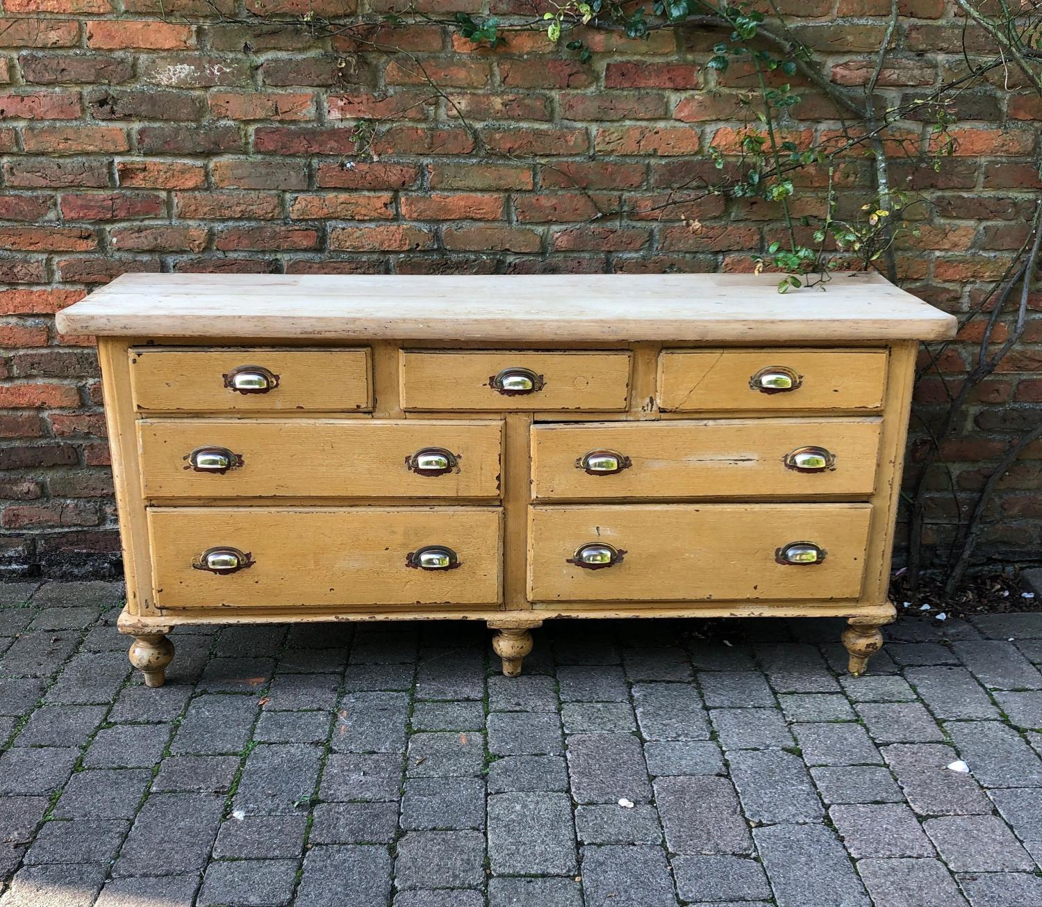 Victorian Pine Seven Drawer Base with 2