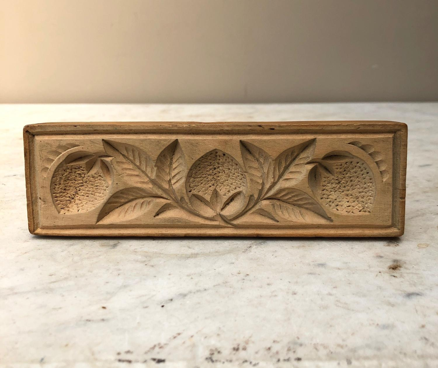 Early 20thC Carved Treen Butter Mould - Strawberries