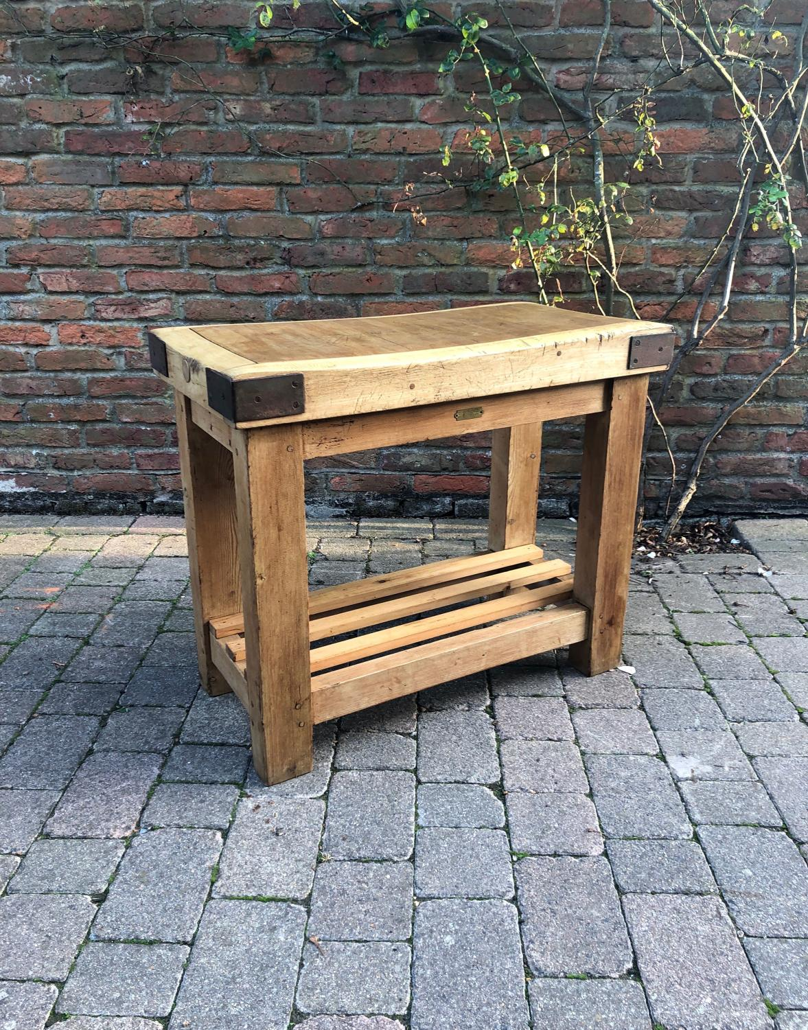 G Rushbrooke Butchers Block on Original Pine Base