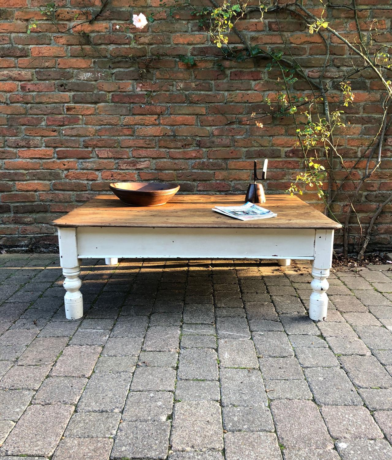 Victorian Pine Table made Coffee Table - Original Paint Base