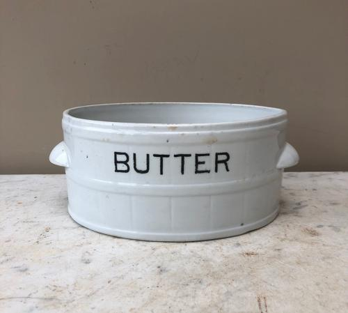 Edwardian White Ironstone Banded Butter Dish