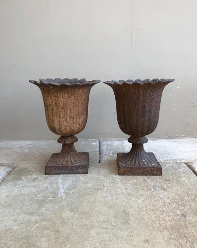 Pair of Genuine Victorian Cast Iron Urns - Petal Shaped Tops