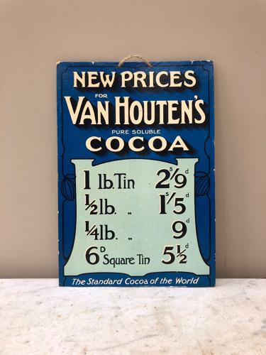 Early 20th Century Shops Advertising Show Card for Van Houten's Cocoa