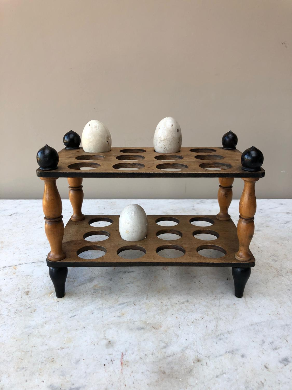 Victorian Treen Two Tier Egg Rack for Two Dozen Eggs c.1880
