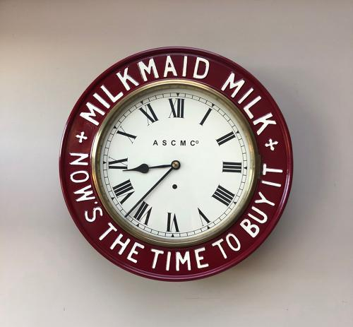 Victorian c.1890 Restored Milkmaid Milk Advertising Clock - Working