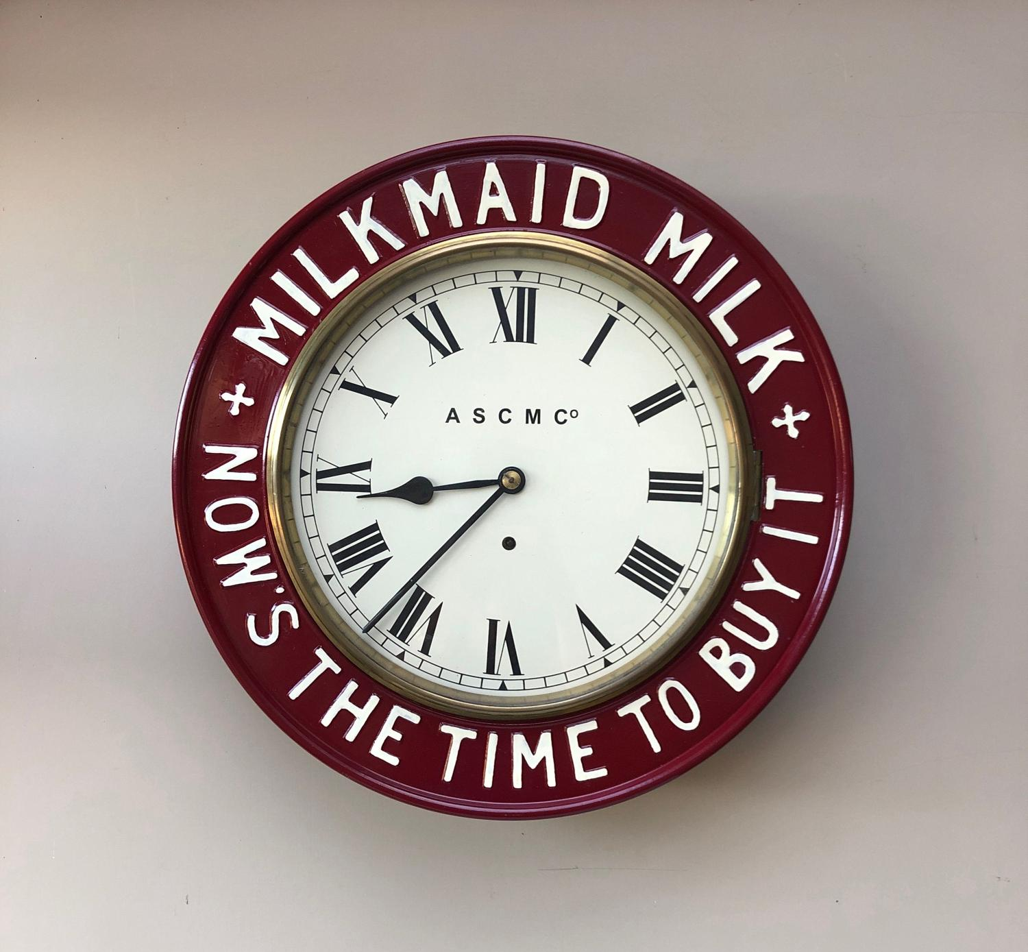 Victorian c.1890 Restored Milkmaid Milk Advertising Clock - Working