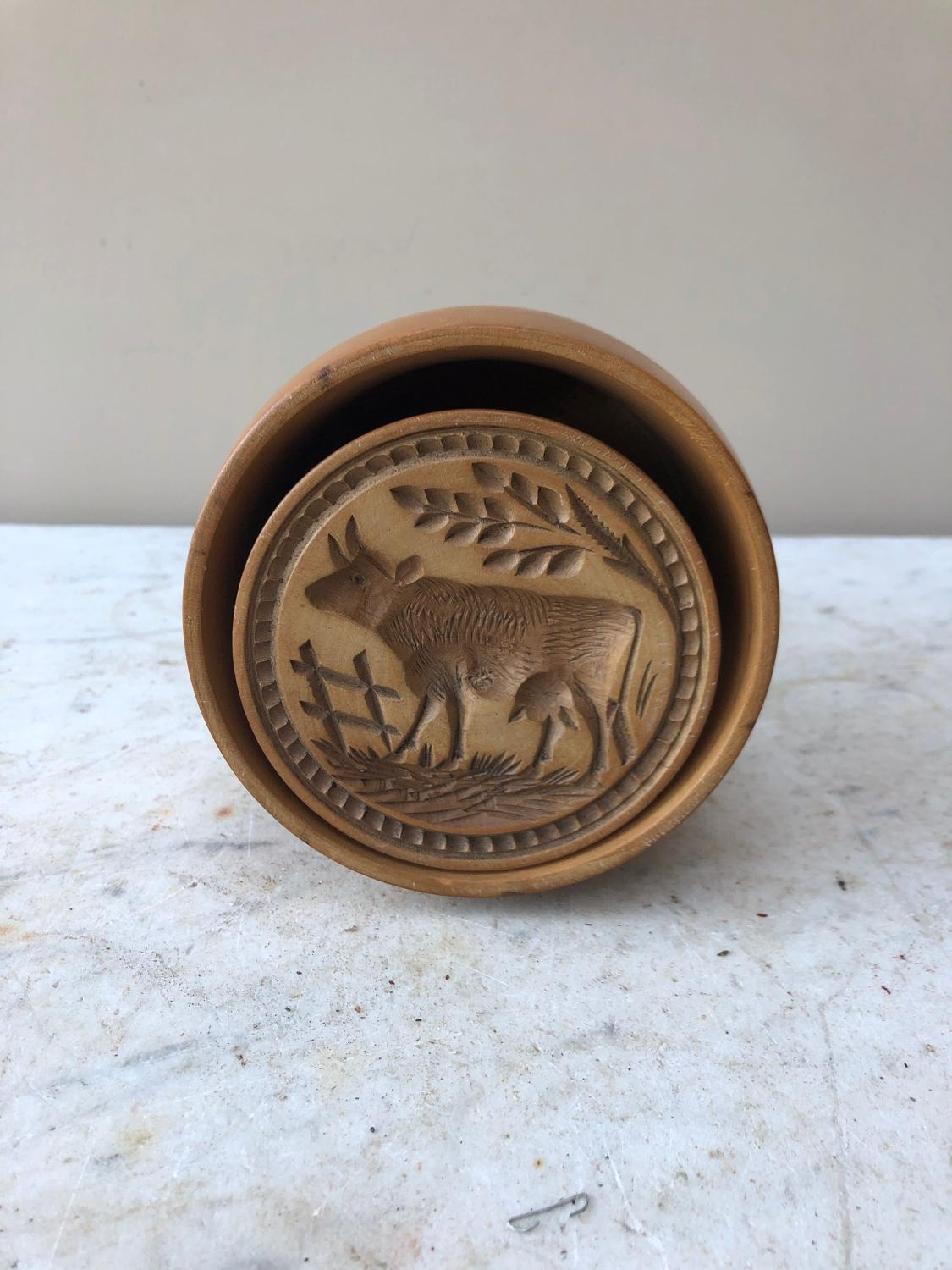 Large Victorian Carved Sycamore Treen Cow Butter Stamp