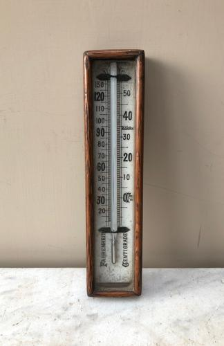 Edwardian Oak Surround White Ceramic Thermometer
