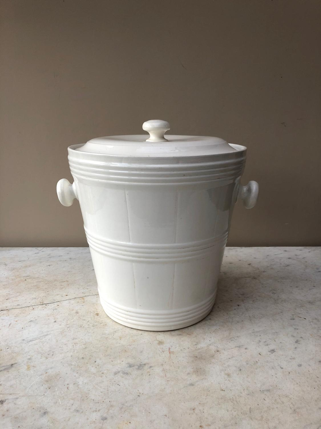 Large White Banded Slop Bucket - Ice Bucket with Original Lid