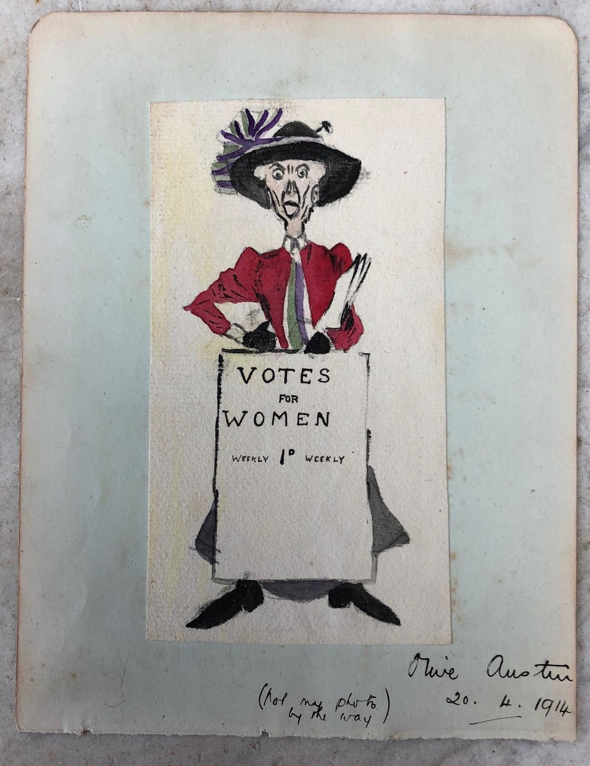 Rare Suffragette Movement Watercolour. Olive Austin. Dated 1914