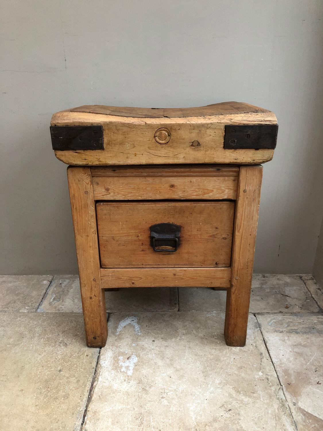 Victorian Butchers Block on Original Pine Base with Drawer