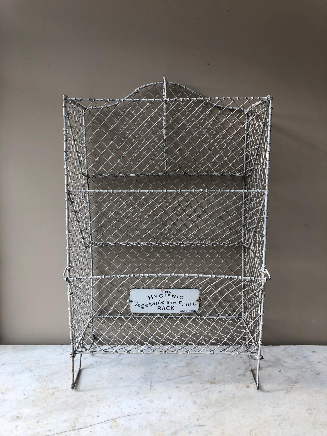 Early 20thC Galvanised Vegetable Rack with Original Plaque
