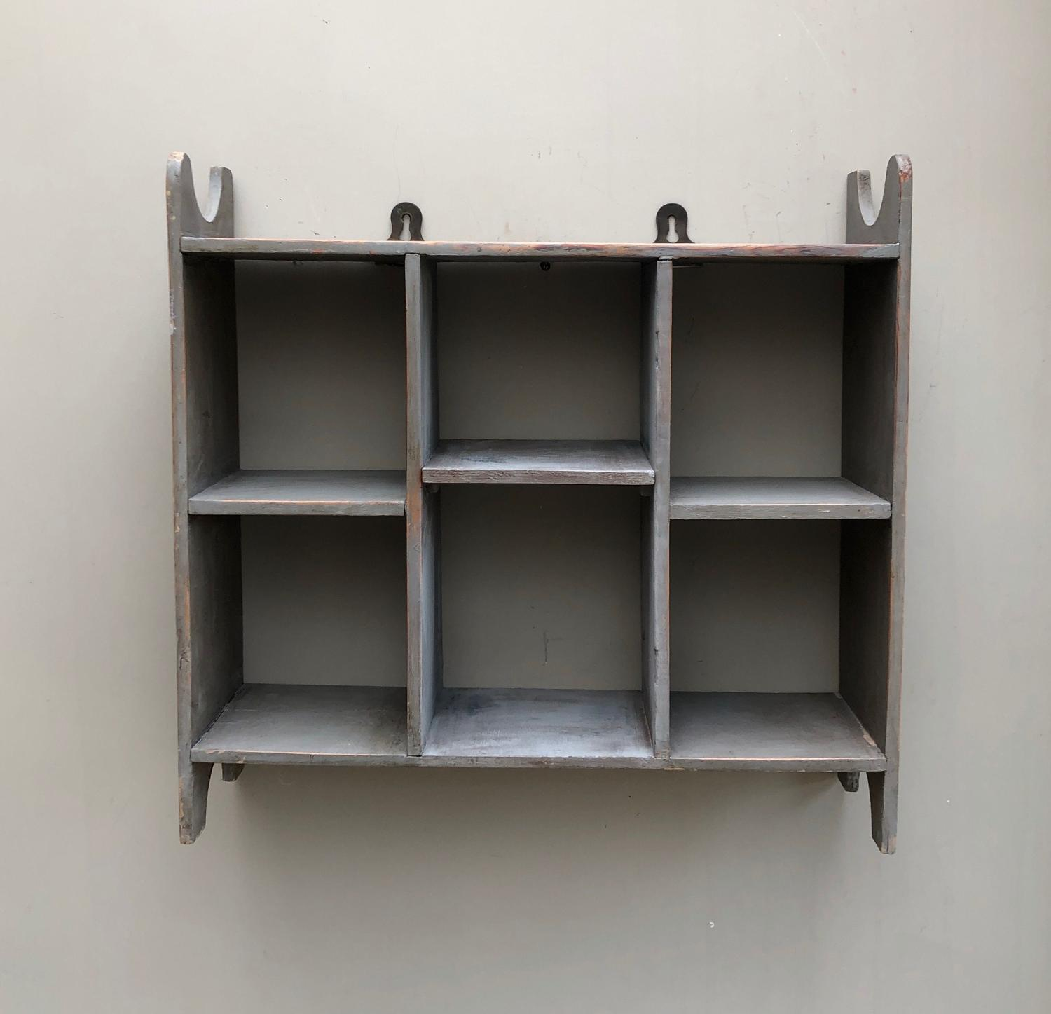 Victorian Pine Pigeon Hole Shelves - Later Painted