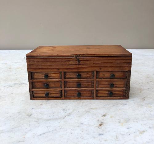 Early 20th Century Pine Watchmakers Bank of Drawers with Lift Up Lid