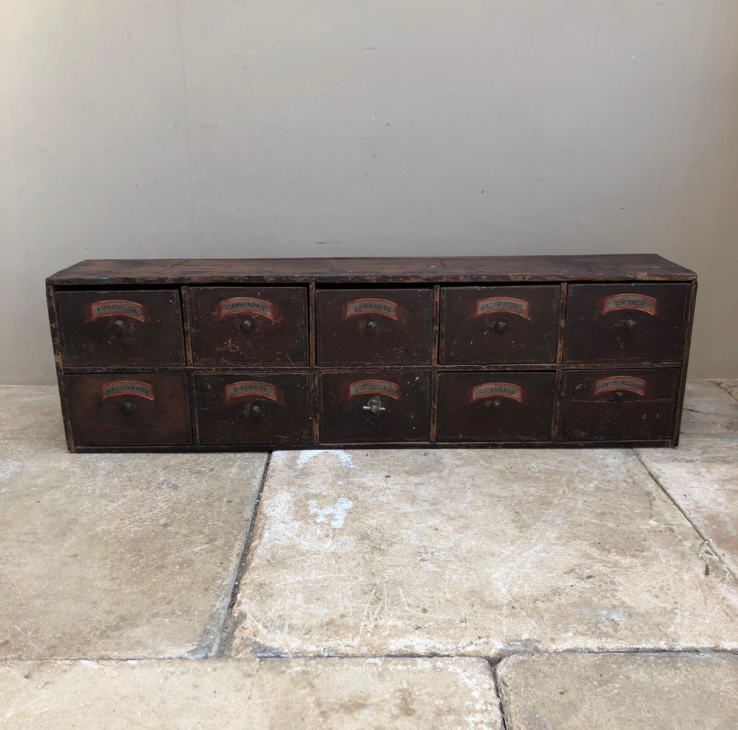 Victorian Pine Bank of Ten Apothecary Drawers - Original Paint