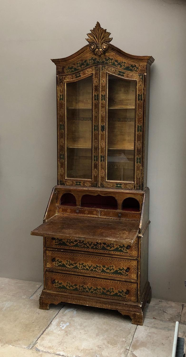 Wonderful Florentine Bureau Bookcase of Small Proportions c.1950