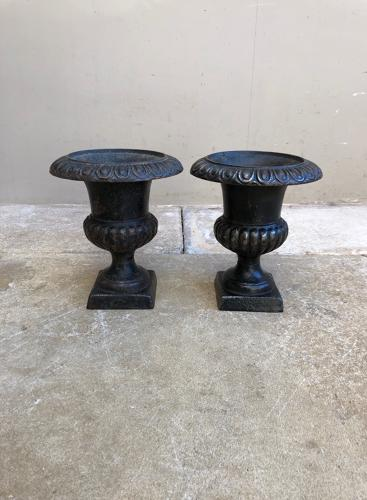 Pair of Small Victorian Cast Iron Urns
