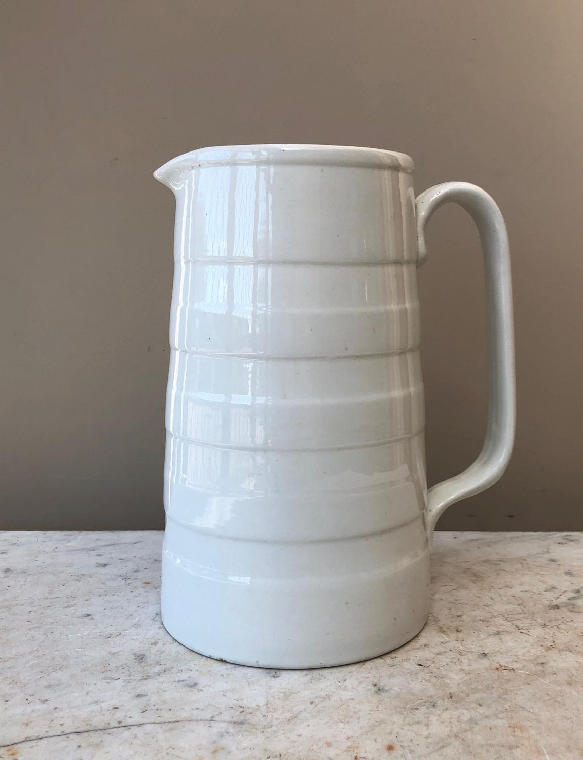 Superb Large Edwardian White Banded Dairy Cream Jug