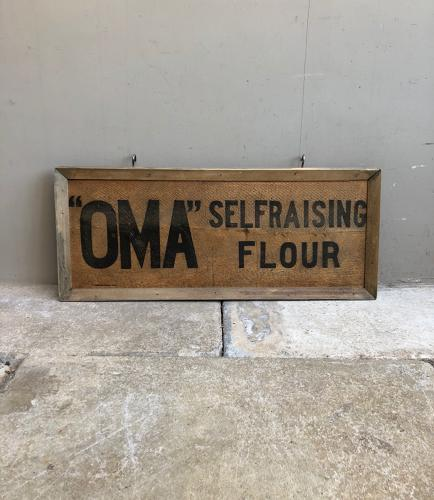 Early 20thC Framed Advertising Pine Box Lid - Oma Self Raising Flour